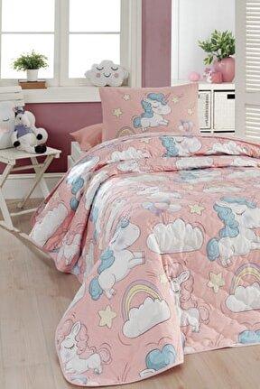 %100 Doğal Pamuk Kapitoneli Yatak Örtüsü Seti Tek Kişilik Unicornio Pembe