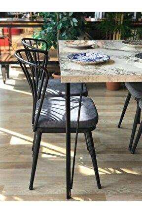 Pera Masa Beyaz Mermer +4 Omega Sandalye Gri