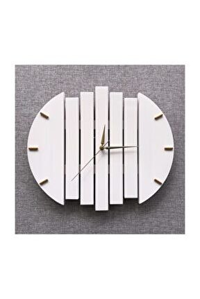 Geometrik El Yapımı Masif Ahşap Duvar Saati
