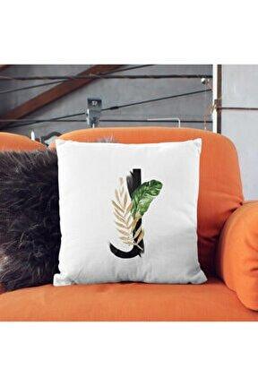 J Harfine Özel Baş Harf Tasarımlı Hediyelik Baskılı Yastık - Baş Harfli Dekoratif Kırlent