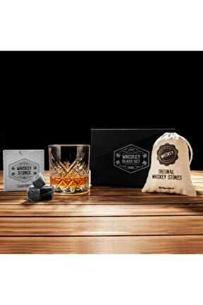 Şık Mat Siyah Kutulu London Viski Bardak Karaf Viski Taşı Seti