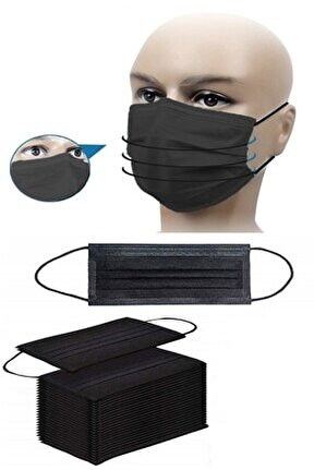 50 Adet Maske Siyah Cerrahi Yüz Maskesi Üç Katlı Telli Maske Toz Maskesi