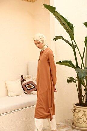 Kadın Camel Yarım Fermuarlı Bağcık Detaylı Tunik