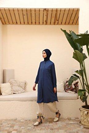 Kadın Koyu Mavi Yarım Patlı Basic Tunik