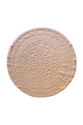 Ottoman %100 Pamuk Yıkanabilir Cappucino Yuvarlak Halı