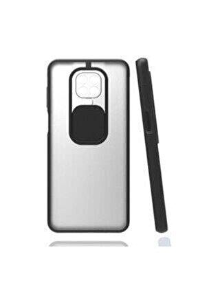 Xiaomi Redmi Note 9s / 9 Pro Kılıf Kamera Lens Korumalı Sürgülü Mat Lüx Kılıf Siyah