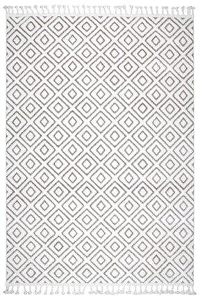 Çam Halı Libas Lb1609 Beyaz Kahve Iskandinav Tarzı Modern Halı