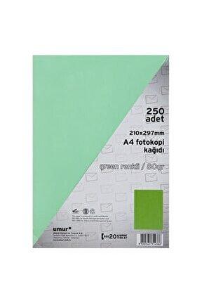 Yeşil A4 Renkli Fotokopi Kağıdı 80 g 250 Yaprak