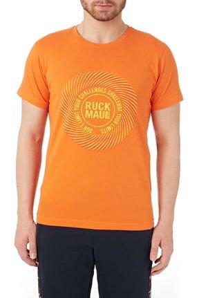 Erkek Turuncu Baskılı Bisiklet Yaka T Shirt Rmm03000707