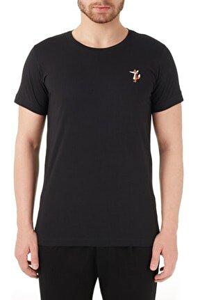 Erkek Siyah  Pamuklu Bisiklet Yaka T Shirt T Shirt Rmm03000712