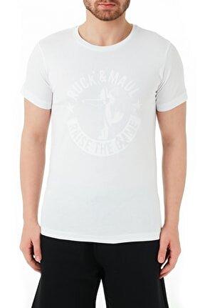 Erkek Beyaz Pamuklu Bisiklet Yaka T Shirt Rmm03000723