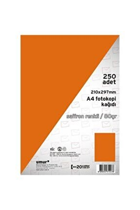 A4 Renkli Fotokopi Kağıdı 80 G 250 Yaprak - Safran