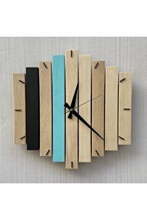 Doğal Ahşap Geometrik Duvar Saati 40x40 cm
