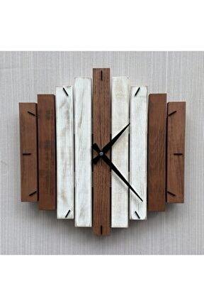 Doğal Ahşap Geometrik Duvar Saati 40x40 Cm (konsept 5)