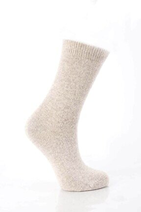 Kadın Ekru Kuzu Yünü Çorap