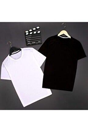 Unisex Siyah Beyaz 2'li Basic T-shirt