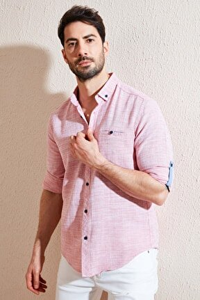 Erkek % 100 Pamuklu Slim Fit Uzun Kollu Gömlek Cf21s111498