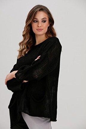 Kadın Siyah Triko Bluz YL-BL99489
