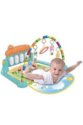 Babycim Sevimli Piyanolu Sesli Işıklı Aynalı Oyun Halısı Yer Minderi 5 İn 1 Yenilenen Tasarım /