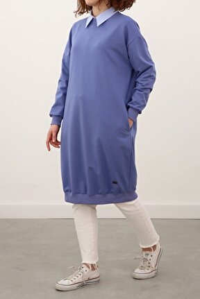 Kadın Koyu Lila Basic Pamuklu Sweat Tunik