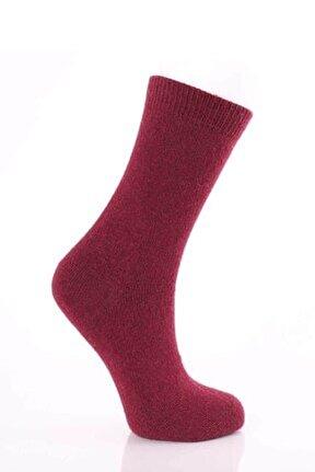 Kadın Bordo Kuzu Yünü Çorap