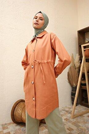 Kadın Somon Kuşaklı Ceket