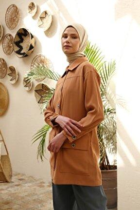 Kadın Camel Cep Detaylı Düğmeli Ceket