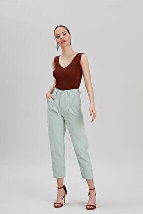 Kadın Su-Yeşili Mom Jeans YL-PN99839