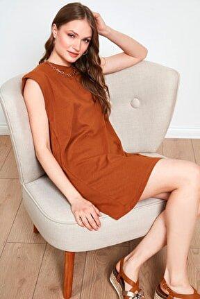 Kadın Kahverengi Bisiklet Yaka % 100 Pamuk Mini T Shirt Elbise 6010018