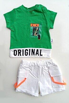 Erkek Bebek Yeşil T-shirt Şort Takımı