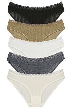 Kadın Siyah Beli Dantelli Slip Külot Soft Renkler 5 Li Paket Set