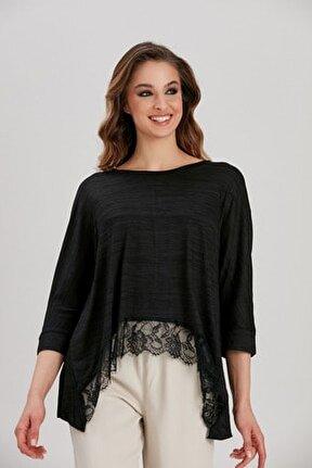 Kadın Siyah Dantel Detaylı Bluz YL-BL99505