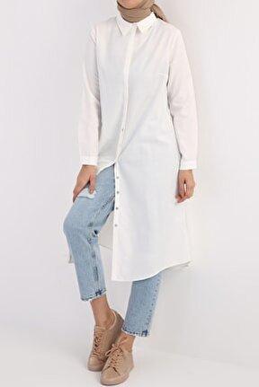 Kadın Ekru Gizli Patlı Gömlek Tunik