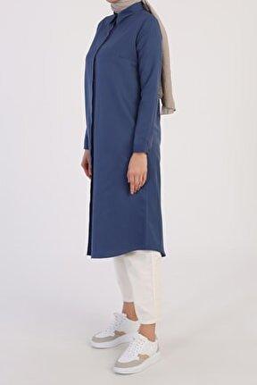 Kadın Koyu Mavi Gizli Patlı Uzun Tunik