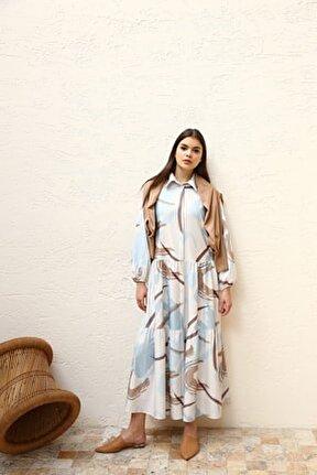 Kadın Mavi Baskı Desenli Düğmeli Elbise