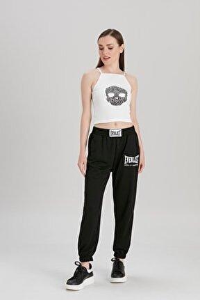 Kadın Siyah Baskılı Ribanalı Pantolon YL-PN99674