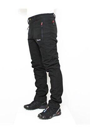 Erkek Siyah Outdoor Kışlık Softshell Pantolon