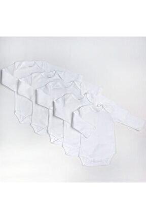 loBaby Bebek Basic Ribana Zarf Yaka 5li Uzun Kol Body - Beyaz