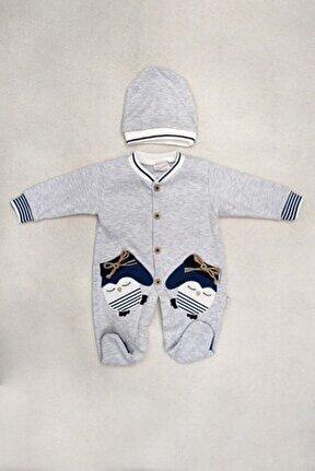 Erkek Bebek Gri Mavi Pamuklu Şapkalı Tulum