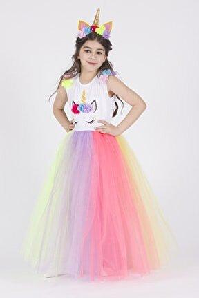 Taçlı Unicorn Elbise Kız Çocuk ELBİSE
