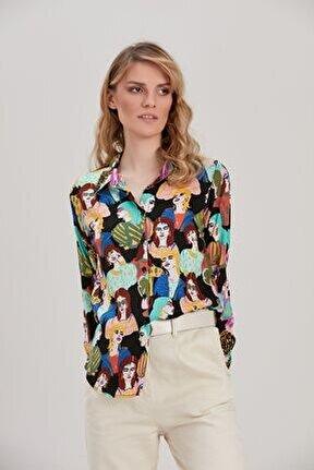 Kadın Siyah Kadın Figürlü Gömlek YL-GM99973