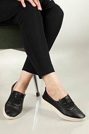 Nefes Alır Jelli Ortopedik Siyah Kadın Ayakkabı W-531