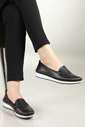Nefes Alır Jelli Ortopedik Siyah Kadın Ayakkabı W-009