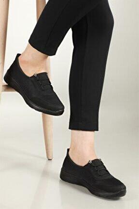Nefes Alır Ortopedik Siyah Kadın Ayakkabı W-800