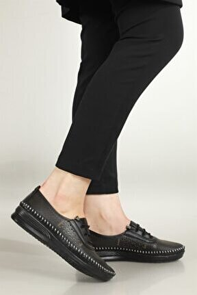 Nefes Alır Jelli Ortopedik Siyah Kadın Ayakkabı W-007