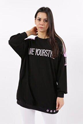 21y24540 Kadın Degrade Nakışlı Büzgülü S-shirt