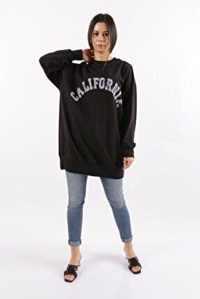 Kadın Siyah  Baskılı Sweatshirt