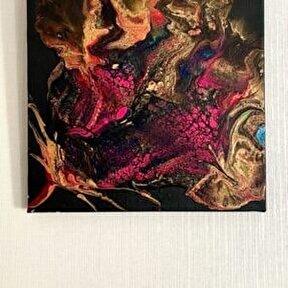 Tuğba Kuvvetli Yurtsever - Golden Roses - Akrilik Fluidart tekniği,25x25