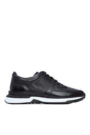 Erkek Siyah Derı Casual Ayakkabı 383 4472 Erk Ayk Y21
