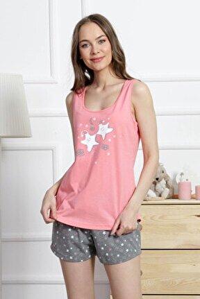 Kadın Pembe Kalın Askılı Penye Suprem Şortlu Pijama Takım